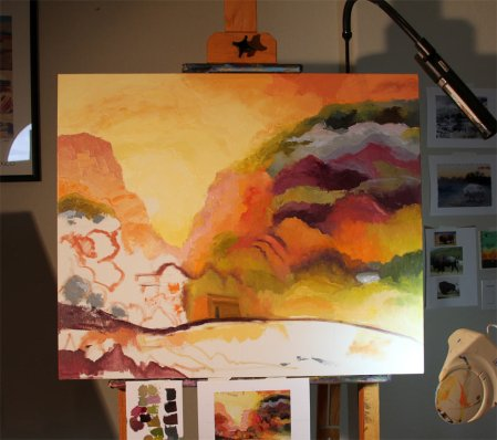 The painting in the studio tonight... So close to finish! KGT