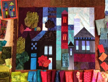 New 9 Patch Village quilt- a selection of some fabrics among many