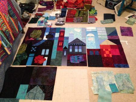 Town quilt progress, Karen Gillis Taylor, October 2014