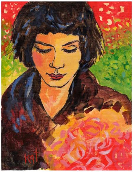 """The Colors of Amelie, Portrait, 8 x 10"""", acrylic on textured acrylic paper, Karen Gillis Taylor. 200.00 available"""