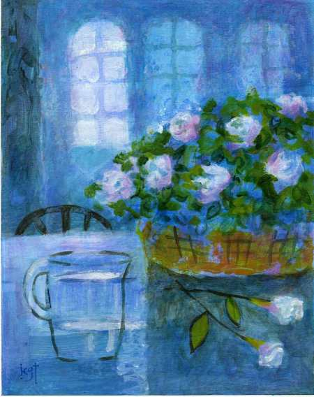 """Blue Interior with Flowers"", 7 x 9"", acrylic on WC paper, Karen Gillis Taylor"