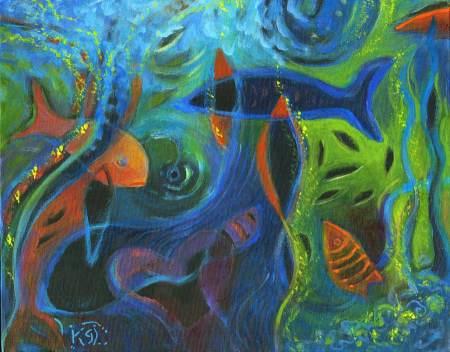 """Deep Sea, Eye of the Whale"", acrylic on gallery wrap canvas, final version, 11 x 14"", Karen Gillis Taylor, 2015"