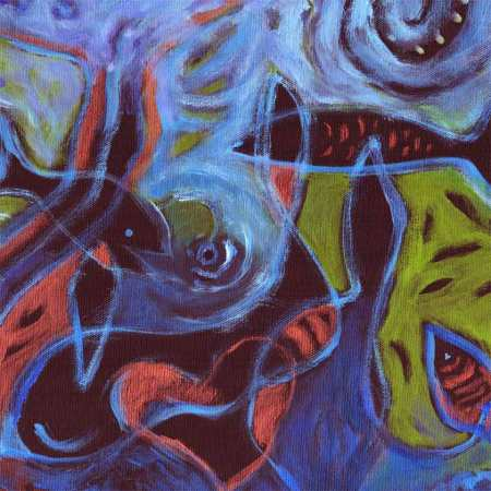 """Deep Sea"" painting started, detail from 11 x 14"" black primed canvas, KGT"