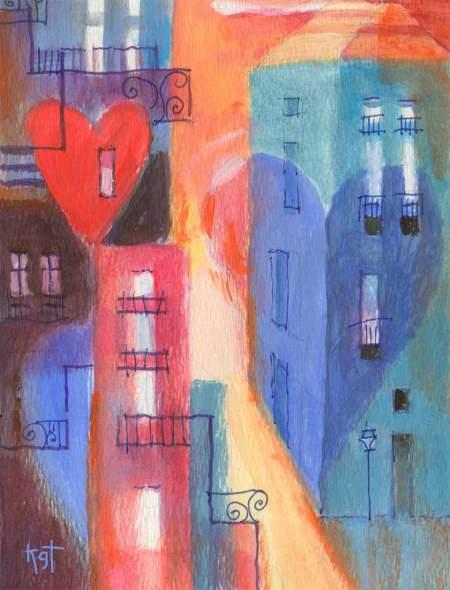 """Heart Town 2"", 5 x7"", acrylic on WC paper, Karen Gillis Taylor"