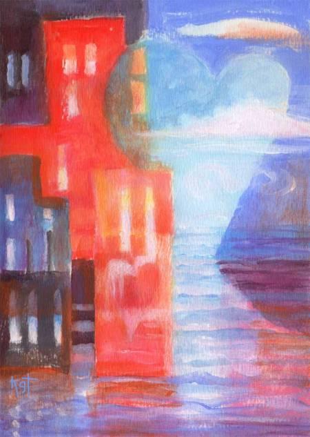 """Heart Town 1"", 5 x7"", acrylic on WC paper, Karen Gillis Taylor"