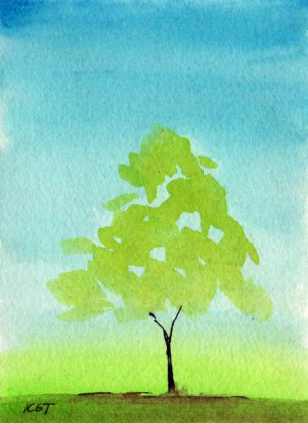 """""""Lone Tree"""", 5 x 7"""", watercolor, Karen Gillis Taylor"""