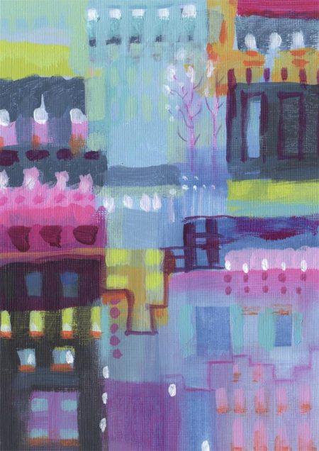 """Paris Color 4, 5 x 7"""", Karen Gillis Taylor, acrylic on textured acrylic paper"""