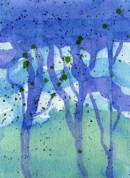 """Spatter Trees"", 5 x 7"", watercolor, Karen Gillis Taylor"