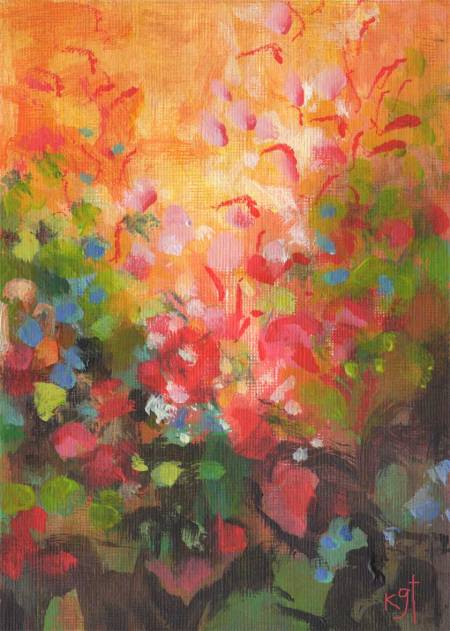 "Amelie color study, Sunlit garden 1, acrylic, 5 x 7"", Karen Gillis Taylor"