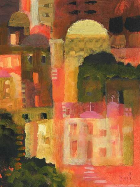 """Tuscan Primitive 1"", 9 x 12"", Acrylic on panel, Karen Gillis Taylor"