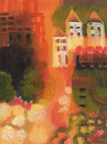 "Tuscan Primitive 2, 9 x 12"", Acrylic on panel, Karen Gillis Taylor"