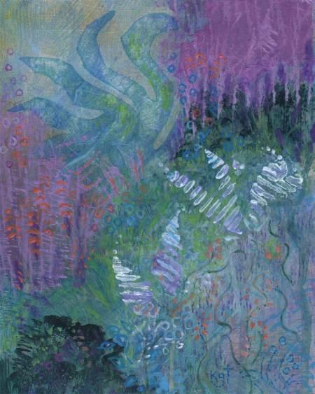 """""""Underwater Garden 3"""", 8 x 10"""", Acrylic and rice paper, Karen Gillis Taylor"""