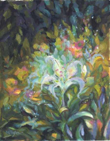 """""""White Flower in the Garden"""", 11 x 14"""", acrylic on paper, Karen Gillis Taylor"""