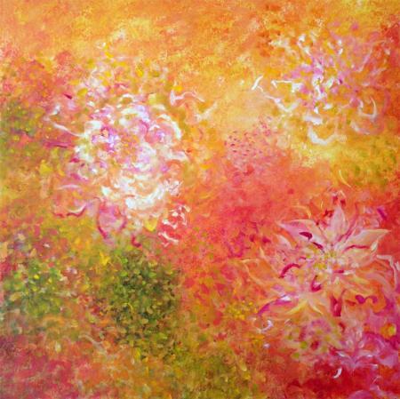 """""""Rosy Garden March 31"""", 24 x 24"""" acrylic, Karen Gillis Taylor"""
