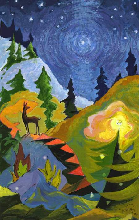 Deer in the NIght, KG Taylor, Gouache