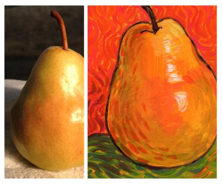 Real Pear Photo and Painting to study Van Gogh Brush Work, KGT