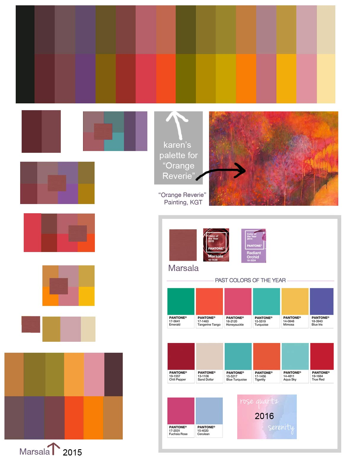 the pantone colors of the year hue bliss color art notes by karen gillis taylor. Black Bedroom Furniture Sets. Home Design Ideas