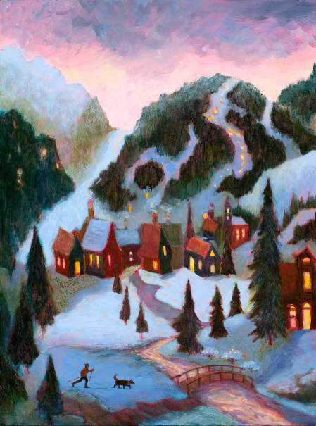 "Winter Village, 24 x 24"" acrylic on board. karen gillis taylor."