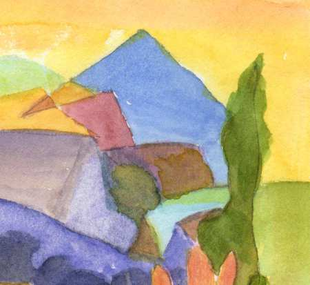 Detail from watercolor painting, Southwest Church with River. KGT.