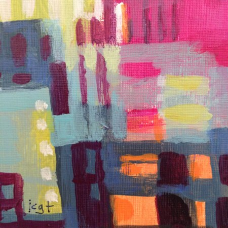 Abstract City with Pinks, acrylic detail from another painting, KGT