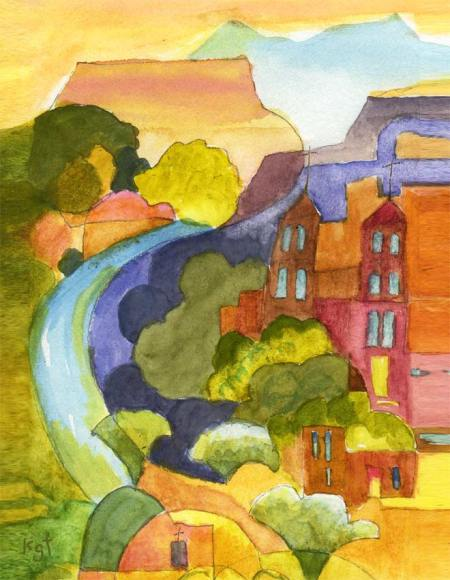 """Southwest Church by River"", detail, watercolor, KGTaylor"