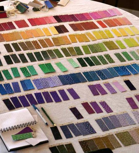 Color swatches of fabric help with ongoing studies.