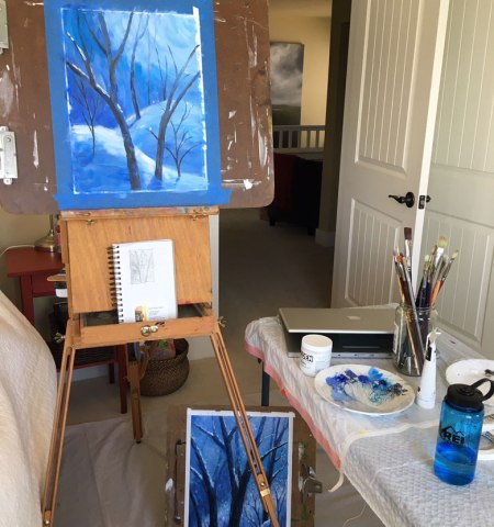 French easel set up
